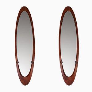 Große italienische Spiegel mit Rahmen aus Teak von Mobili Polli, 1960er, 2er Set