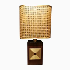 Wood & Brass Table Lamp, 1970s
