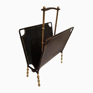 Bamboo, Brass, and Stitched Leather Magazine Rack by Jacques Adnet, 1950s