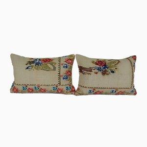 Floral Aubusson Kilim Cushion Covers, Set of 2