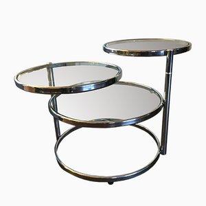 Mesa de centro ajustable vintage de metal cromado y vidrio, años 60