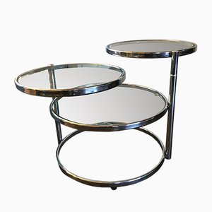 Vintage Chrome and Glass Adjustable Coffee Table, 1960s