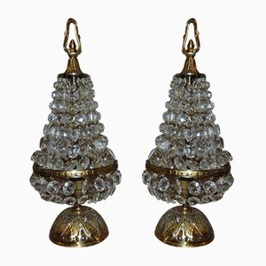 Vintage Art Deco Brass and Crystal Table Lamps, 1940s, Set of 2