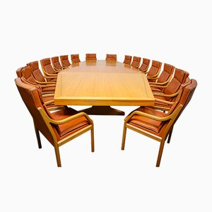 Large Conference Table & Armchairs Set by Walter Knoll for Walter Knoll / Wilhelm Knoll, 1970s, Set of 17
