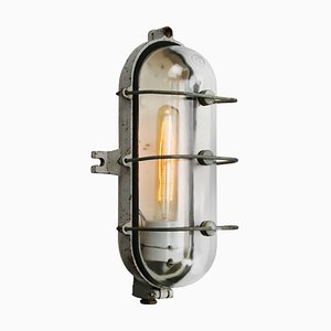 Vintage Industrial Cast Iron and Clear Glass Sconce from Industria Rotterdam, 1950s