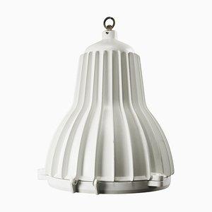 Lampada a sospensione vintage industriale in metallo bianco e vetro bianco, Italia