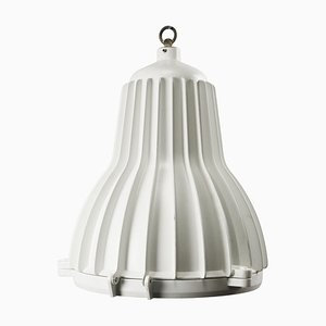 Lámpara colgante industrial italiana vintage de metal blanco y vidrio claro