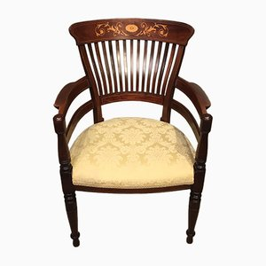 Antique Edwardian Mahogany Inlaid Desk Chair