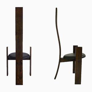 Schwarze Mid-Century Golem Esszimmerstühle aus Leder von Vico Magistretti für Poggi, 2er Set