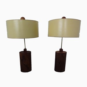 Danish Rosewood and Brass Floor Lamps, 1960s, Set of 2