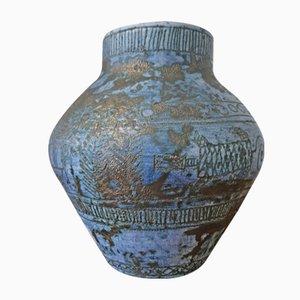 Blaue Mid-Century Vase von Jacques Blin