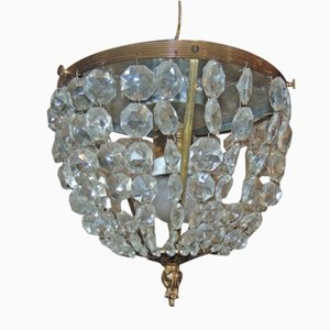 Art Deco Brass and Crystal Chandelier