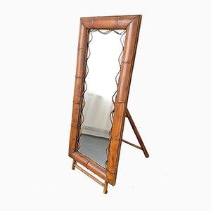 Standspiegel mit Rahmen aus Bambus, 1950er