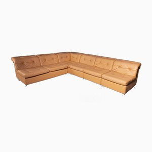 Leather Modular Sofa, 1970s, Set of 5