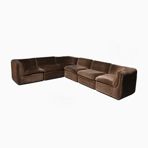 Velvet Modular Sofa, 1970s, Set of 5