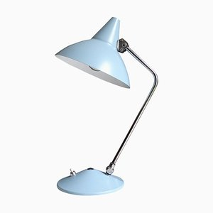 Mid-Century Bauhaus Blue Chrome Table Lamp from HELO Leuchten, 1960s