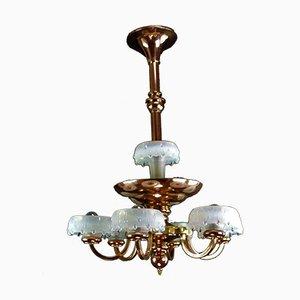 Lampada da soffitto Art Déco vintage in rame e ottone di Ezan