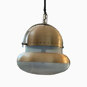 Space Age Golden Satin-Finish Metal & Opaline Glass Ceiling Lamp, 1968