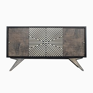 Mid-Century Finnish High Sideboard with Hand-Painted Pattern, 1960s