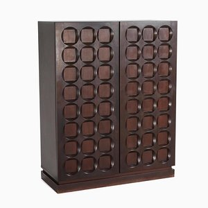 Brutalist Mahogany Bar Cabinet by De Coene, 1970s