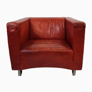Sillones Club vintage de cuero rojo y coñac de Molinari. Juego de 2