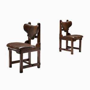 Brutalist Oak & Leather Dining Chairs, 1970s, Set of 6