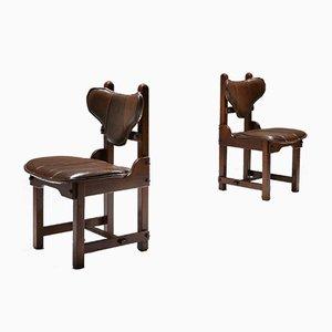 Brutalistische Esszimmerstühle aus Eiche & Leder, 1970er, 6er Set