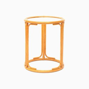 Vintage Round Rattan and Glass Side Table, 1970s