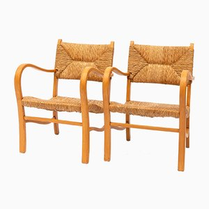 Mid-Century Wood and Rattan Armchairs, 1950s, Set of 2