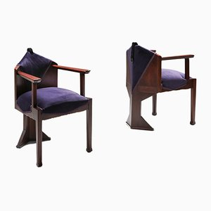 Dutch Art Deco School Armchairs, 1950s, Set of 2