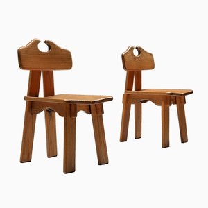 Spanish Brutalist Oak Dining Chairs, 1970s, Set of 4