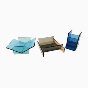 Centros de mesa de vidrio de Ettore Sottsass para RSVP, años 90. Juego de 3