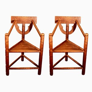 Vintage Tripod Armchairs from Worpsweder Werkstätte, 1920s, Set of 2