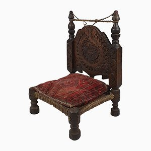 19th Century North African Carved Wood and Rawhide Side Chair