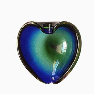 Italienische Mid-Century Sommerso Murano Glasschale in Grün & Blau, 1960er