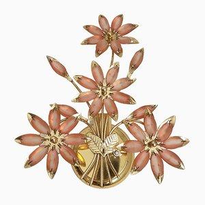 Florale Wandlampen aus Messing & Muranoglas von BC San Michele, 1970er, 2er Set