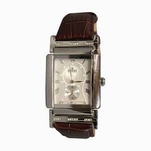 Danish Mens Steel, Leather, and Diamond Wristwatch by Jullou