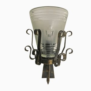 Mid-Century Iron & Murano Glass Sconce