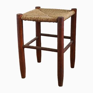 Mid-Century French Wood and Straw Stool, 1960s