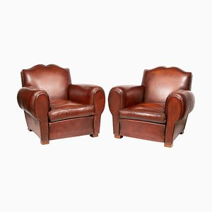 French Chocolate Brown Leather Moustache Club Chairs, 1930s, Set of 2