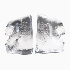 Glass Bookends by Erik Höglund for Kosta, 1960s, Set of 2
