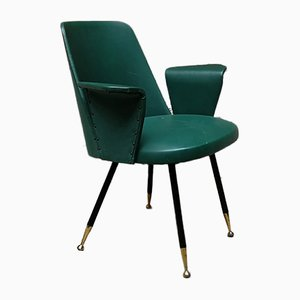 Italian Steel, Brass, and Green Faux Leather Lounge Chair, 1950s