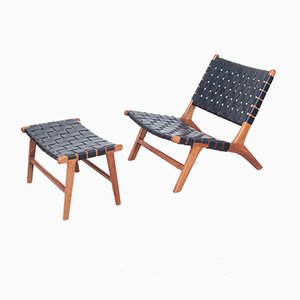 Danish Lounge Chair and Ottoman Set, 1960s