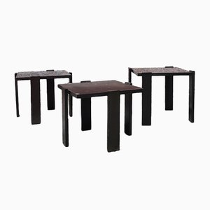 Italian Dark Brown Lacquered Wood Coffee Tables, 1970s, Set of 3