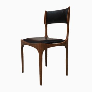 Italian Beech and Leather Elisabetta Dining Chairs by Giueppe Gibellini for Sormani, 1960s, Set of 4
