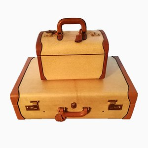 Valise & Beauty Case Vintage en Parchemin, Set de 2