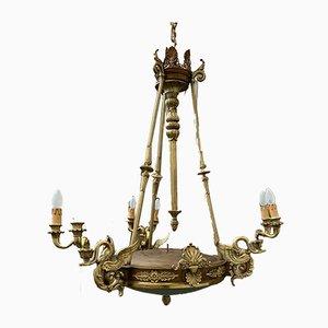 Antiker Empire Kronleuchter aus vergoldeter Bronze