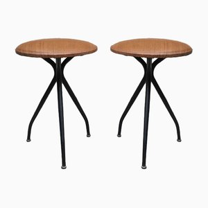 Italian Metal and Brown Faux Leather Stools, 1960s, Set of 2