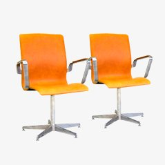 Mid Century Oxford Office Chairs by Arne Jacobsen for Fritz Hansen, Set of 2