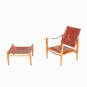 Dänisches Mid-Century Sessel & Fußhocker Set aus patiniertem Leder von Kaare Klint für Rud. Rasmussen, 1960er